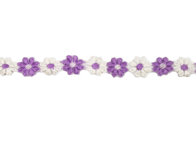 "Vintage Trim Lavender White Flower Shaped Trim 5/8"" Wide -Sold by the Yard"