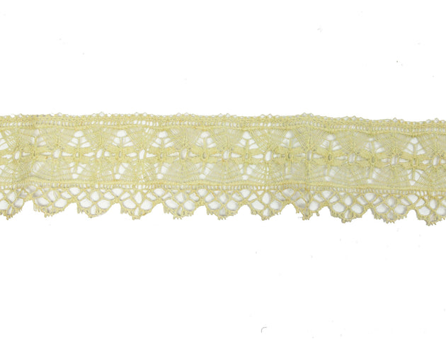 "Vintage Lace Trim Beige Intricate Woven 2"" Wide - 1.5 Yard Piece"