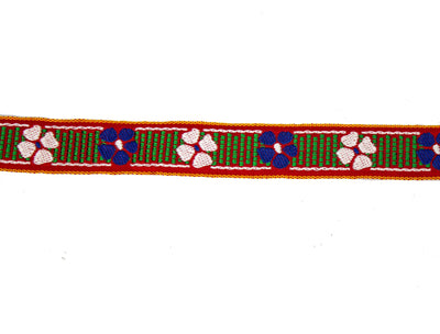 "Vintage Ribbon Trim White with Blue, Green, White Flower Embroidery 3/4"" Wide - One Piece 4 Yards Long"