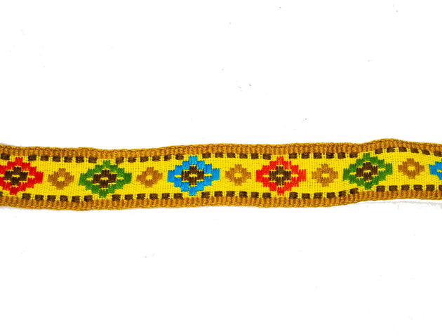 "Vintage Ribbon Trim Southwestern Woven 7/8"" Wide - One Piece 1 Yard 32 Inches Long"