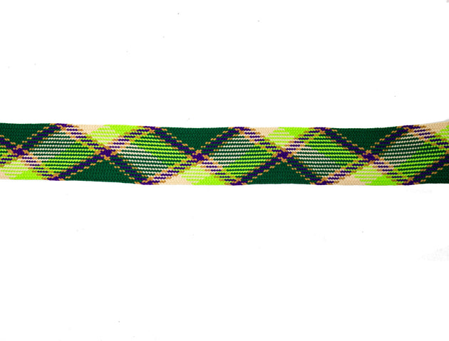 "Vintage Trim Green Plaid 1 1/4"" Wide - One Piece 1 Yard 34 Inches Long"