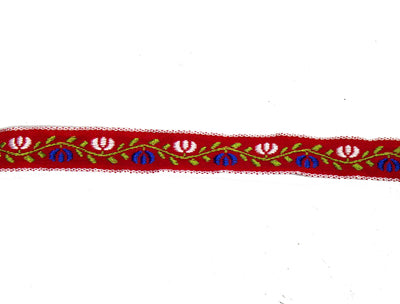 "Vintage Ribbon Trim Red with Blue, Green, White Flower Embroidery 1/2"" Wide - One Piece 4 Yards Long"
