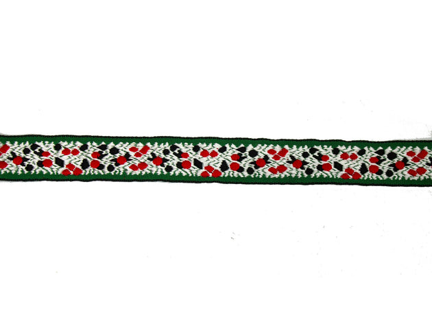 "Vintage Trim Green with Red, White and Black Embroidery 3/4"" Wide - One Piece 4 Yards Long"
