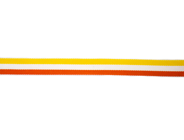 "Vintage Trim White, Yellow and Orange Grosgrain Ribbon 5/8"" Wide - Sold by the Yard"
