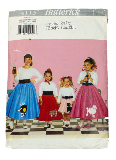 Butterick Costumes Kids 4113 Poodle Skirt Cut - Sizes 2 - 14