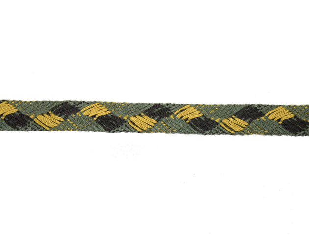 "Vintage Trim Black, Gold, Green Woven Pattern 1/2"" Wide - Sold by the Yard"