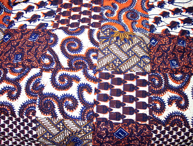 "Vintage Decorator Fabric Orange, Navy, Beige Squares Print - Measures 46"" x 60""+"