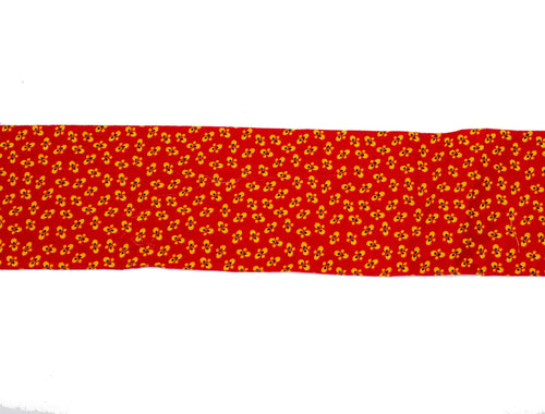 "Vintage Fabric Strip for Bias Trim Red with Yellow, Black Mini Flowers 2 1/4"" Wide - Sold by the Yard"