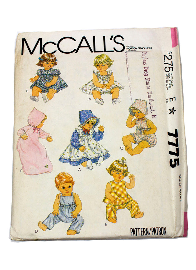 "McCall's 7775 Doll Clothes for Dolls Sizes Uncut 15 1/2"", 17"""