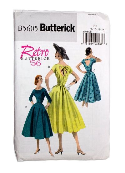 Butterick 5605 Retro '56 Womens Dress and Belt Uncut - Sizes 8 - 14