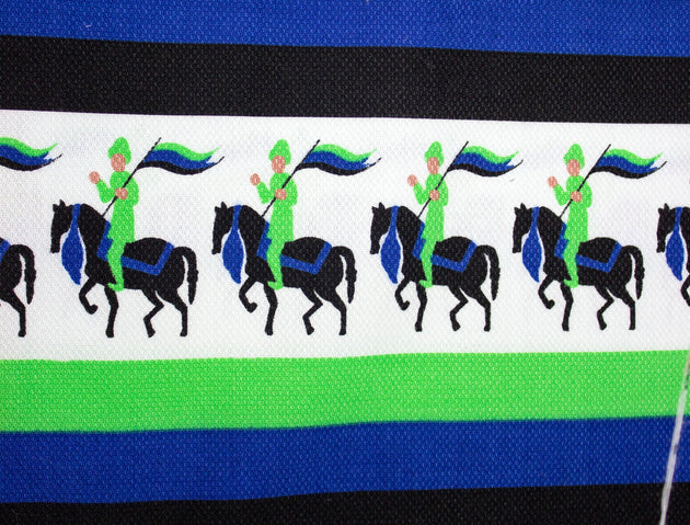 "Vintage Fabric 1970's Polyester Green and Blue Knights Pattern - Measures 37"" x 41"""