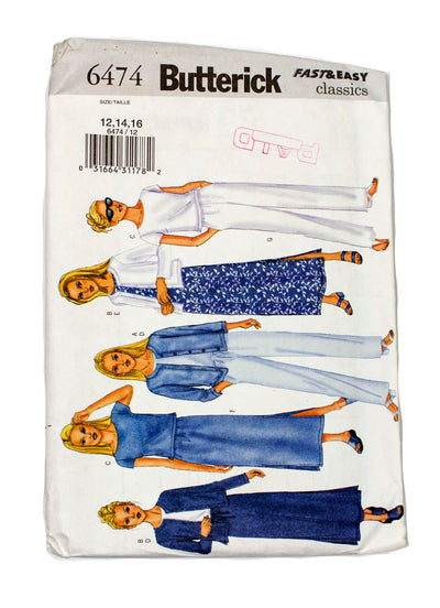 Butterick 6474 Womens Jacket, Top, Dress, Skirt, Pants Uncut - Sizes 12 - 16
