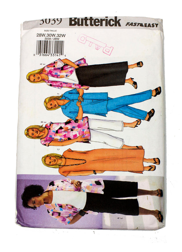 Butterick 3039 Womens Shirt, Top, Tunic, Dress, Skirt, Pants Uncut - Sizes 28W - 32W