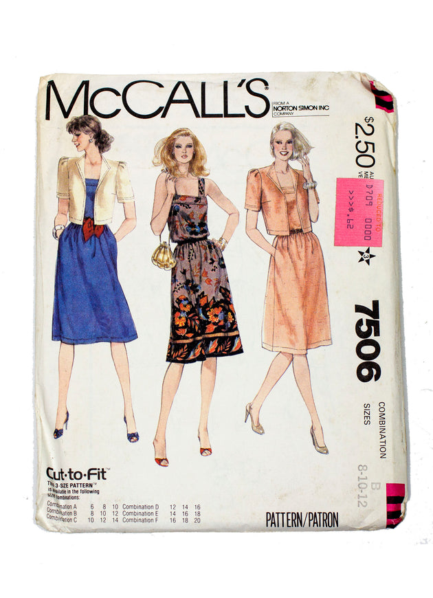 McCall's 7506 Womens Jacket and Dress Uncut - Sizes 8 - 12