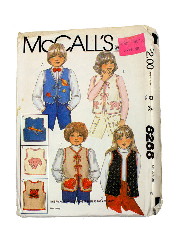 McCall's 8288 Childrens Vest with Transfers Uncut - Child Size 6