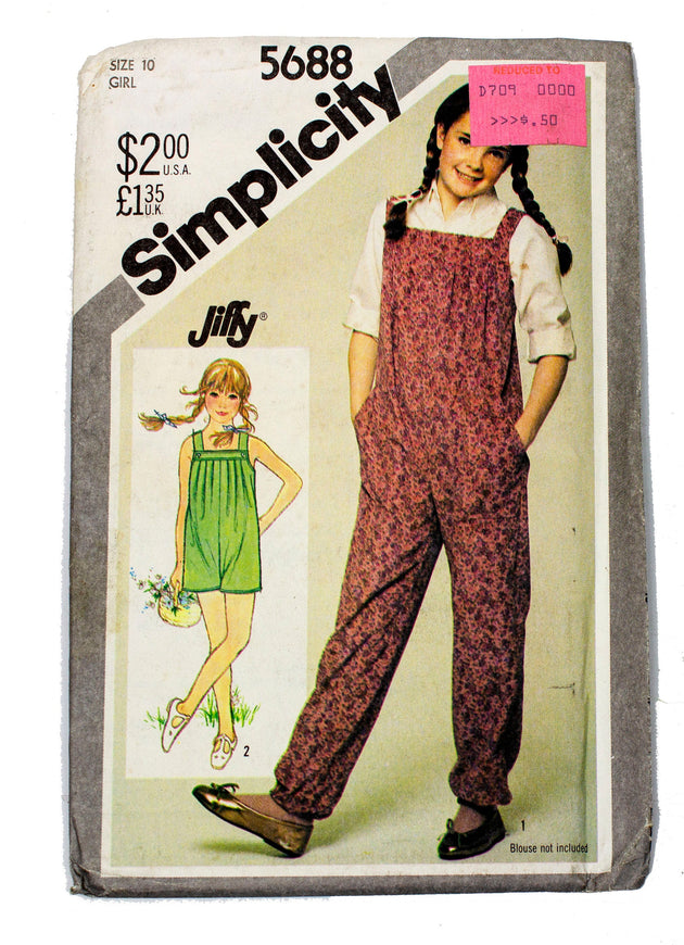Simplicity 5688 Girls Jiffy Pull On Jumpsuit Uncut - Girl Size 10