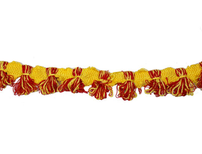 "Vintage Fringe Trim Red and Yellow 1 1/2"" Wide - Sold by the Yard"