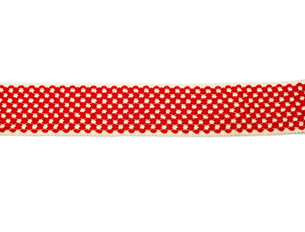 "Vintage Elastic Trim Red, White Checkered 2"" Wide - Sold by the Yard"