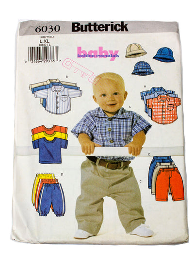 Butterick 6030 Infant Shirt, T Shirt, Pants & Hat Uncut - Sizes L, XL
