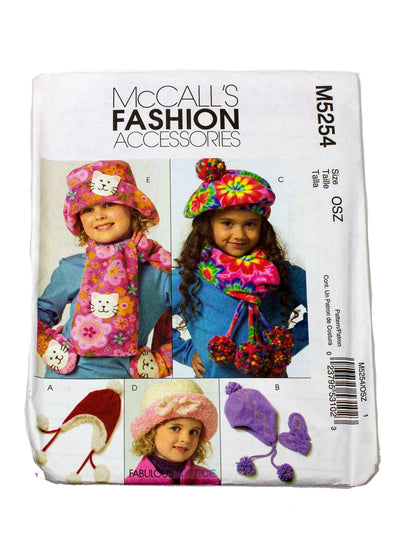 McCall's Fashion Accessories 5254 Childrens Hat, Mittens, Scarves Uncut - Sizes S - L