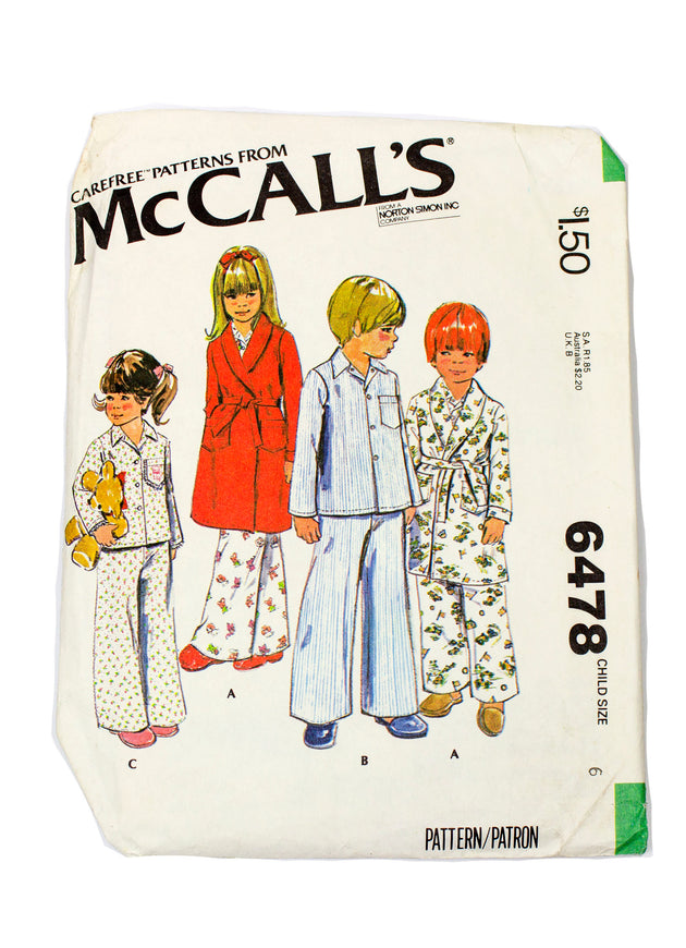 McCall's 6478 Childrens Robe and Pajamas - Size 6