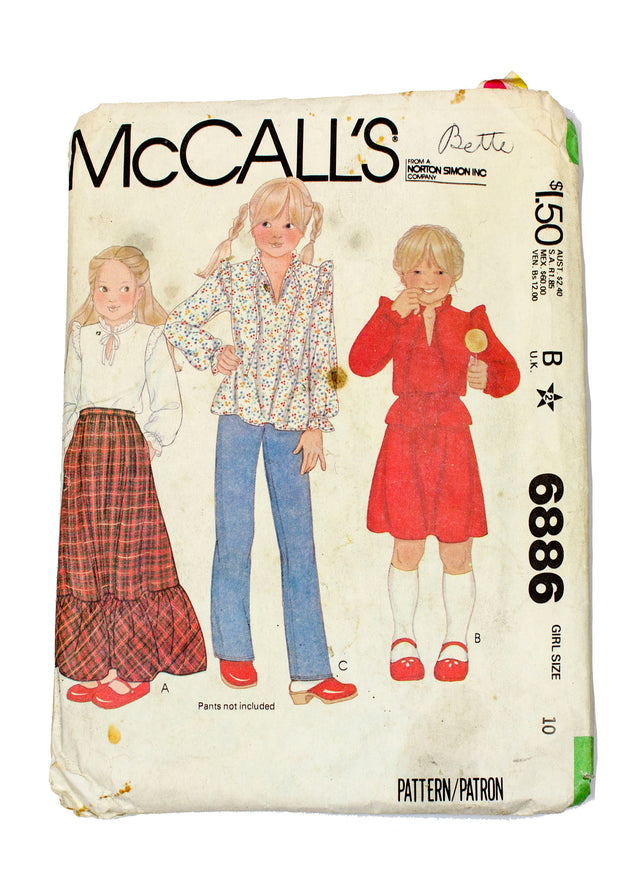 McCall's 6886 Girls Blouse and Skirt - Size 10