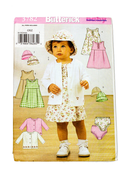 Butterick 3782 Infant Jacket, Dress, Panties, Hat - Size S - XL