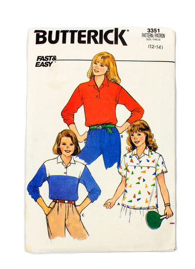 Butterick 3351 Girls Polo Top - Size 12 - 14