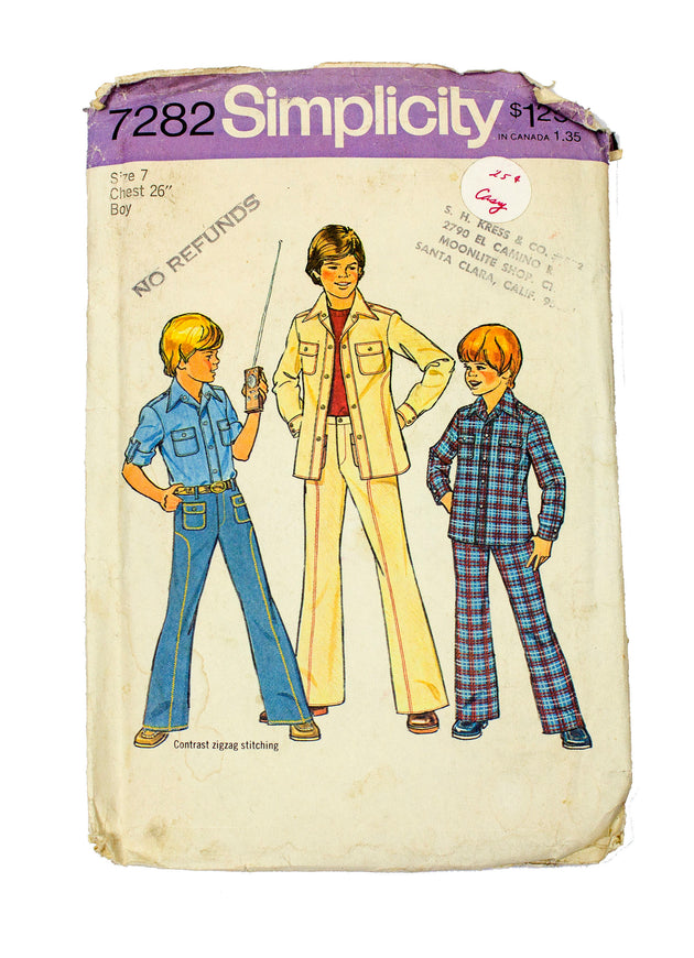 Simplicity 7282 Boys Shirt and Pants - Size 7 Chest 26