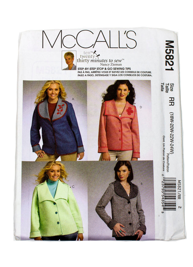 McCall's 5821 Womens Jackets Uncut - Sizes 18W - 24W