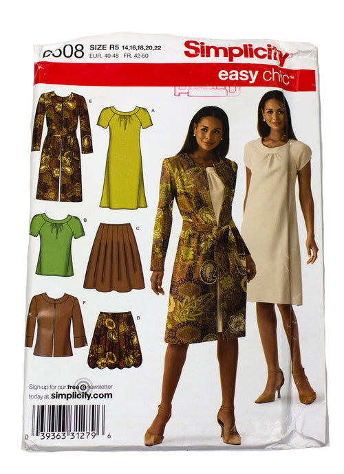 Simplicity 0508 Womens Skirt, Dress, Top Jacket Uncut - Sizes 14 - 22