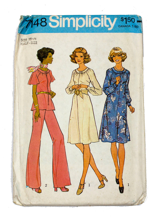 Simplicity 7148 Dress, Top, Wide Leg Pants Uncut - Size 18 1/2