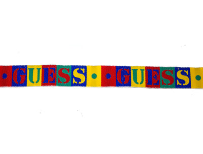 "Vintage Ribbon 1980's Guess Brand Embroidered Primary Colors 3/4 Wide"" - One Piece 3 Yards Long"