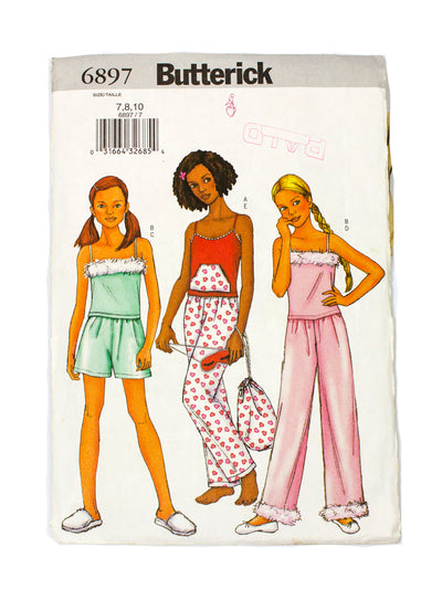 Butterick 6879 Girls Top, Shorts, Pants, Bag, Mask - Size 7 - 10