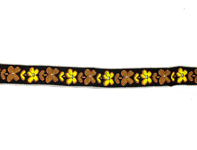 "Vintage Ribbon Trim Black w/ Brown/Yellow Embroidered Flowers 3/4"" Wide - Sold by the Yard"