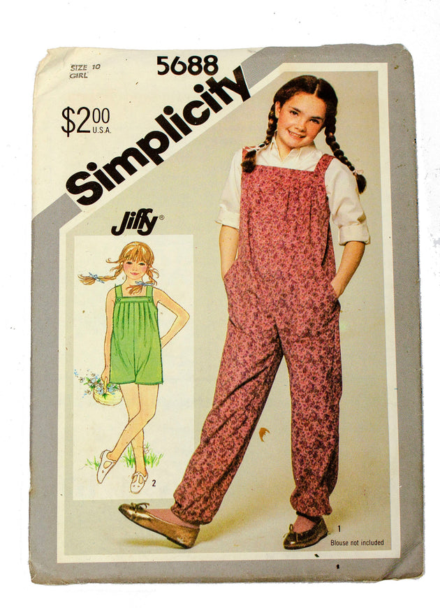 Simplicity 5688 Girls Jiffy Pull On Jumpsuit - Girl Size 10