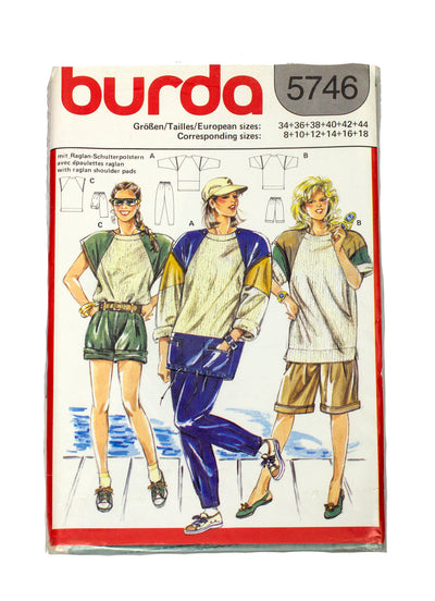 Burda 5746 Womens Activewear Short, Shirt, Pants Uncut - Size 8 - 18