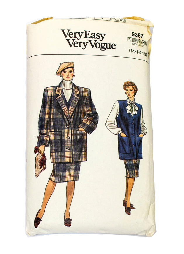 Vogue 9387 Womens Jacket, Vest, Skirt Uncut - Sizes 14 - 18