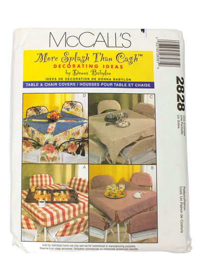 McCall's 2828 Table and Chair Covers Uncut - One Size