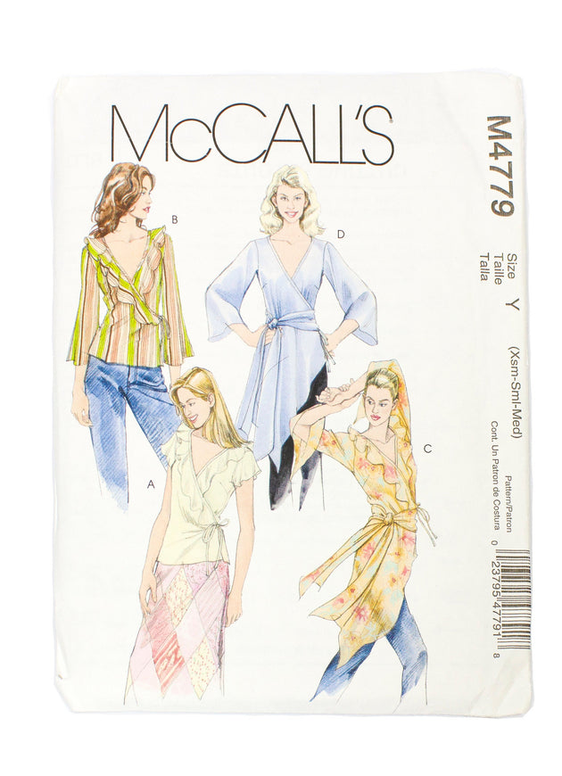 McCall's 4779 Womens Blouses Two Lengths, Sash Uncut - Sizes XS - M