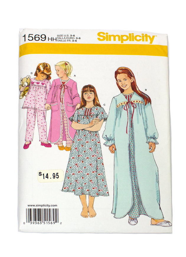Simplicity 1569 Girls Sleepwear, Nightgown, Pants Uncut - Sizes 3 - 6