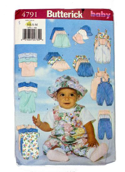 Butterick 4791 Infant T Shirt, Romper, Jumpsuit,Skirt, Shorts, Pants, Hat Uncut - Sizes NB - M