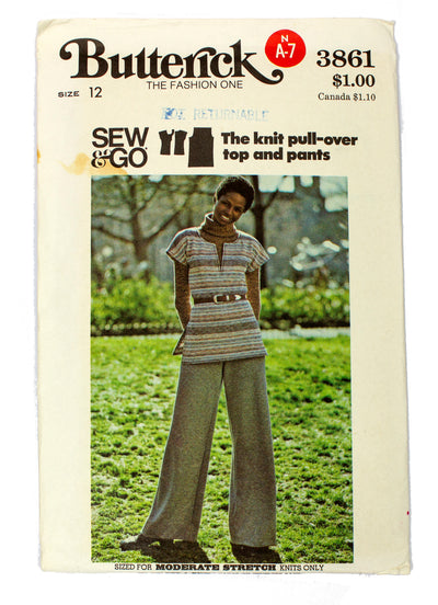 Butterick 3861 Womens Top and Wide Leg Pants Uncut - Size 12
