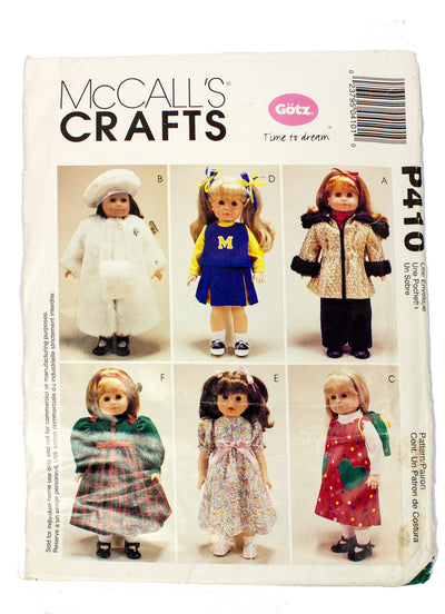 "McCall's 410 18"" Doll Clothes Six Outfits Uncut"
