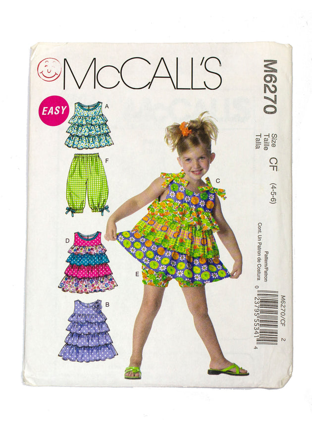 McCall's 6270 Childrens Top, Dress, Shorts, Capri Pants Uncut - Sizes 4 - 6