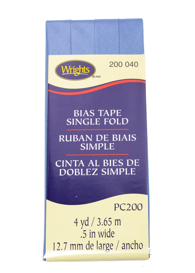 "Wrights Cotton Bias Tape Single Fold .5"" Wide 4 Yards"
