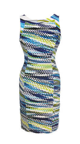 WHITE / LIME/ ROYAL KNIT DRESS