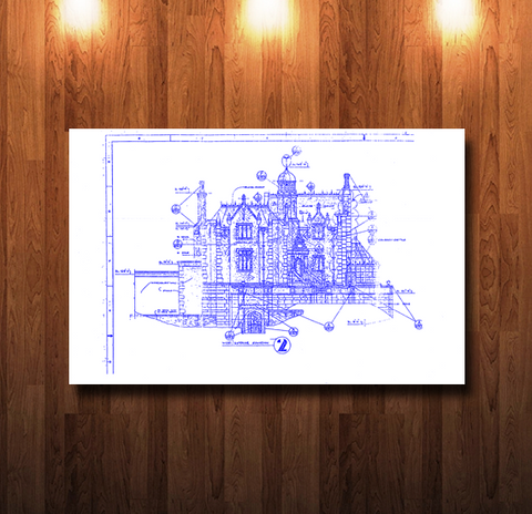 Walt Disney World Haunted Mansion West Elevation Blueline Blueprint - 0048