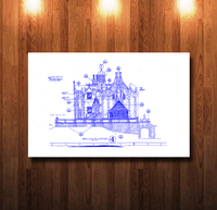 Walt Disney World Haunted Mansion South Elevation Blueline Blueprint - 0068