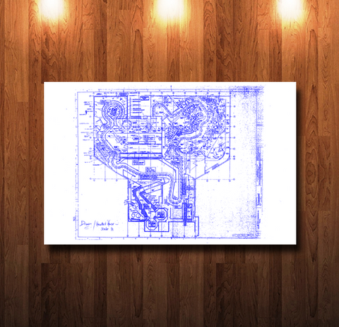 Disneyland Haunted Mansion Ride Plan Blueline Blueprint - 0078
